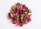 Aromatic Mix Of Potpourri Of Dried Flowers. A Bunch Of Dry Potpourri Flowers On A White Background. poster
