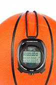 A basketball sports theme with a digital stopwatch for use with most sports inferences where games are timed.