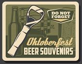 Oktoberfest Beer Souvenirs, Bottle Opener And Wooden Barrel With Tap. Vector Retro Brewery Product,  poster
