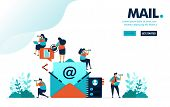 Vector Illustration Mail Contact. People In Pictures Of Letter Or Envelope To Send And Share Message poster