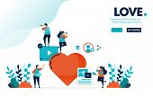 Vector Illustration Love Sign. People Like And Love Content. Creative Social Media Video And Image C poster