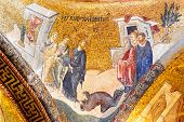stock photo of constantinople  - Wall mosaics of ancient Chora Church Istanbul - JPG