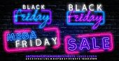 Black Friday Neon Label. Set Of Isolated Neon Sign For Black Friday. Neon Logos On Transparent Backg poster
