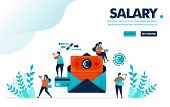 Vector Illustration Safe Payroll Envelope Payment. People Are Waiting For Monthly Salary Payments. C poster