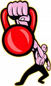 foto of strongman  - Illustration of a strongman training lifting kettlebell or girya viewed from fornt on isolated background - JPG