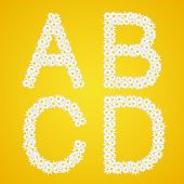 Letters Abcd Composed From Daisy Flowers. Complete Alphabet In The Gallery.