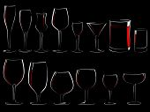 stock photo of boose  - Set of simple vector illustration different wineglasses and glasses filled with wine on a black background  - JPG