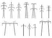 Set Of Vector Silhouettes Of Pylons Transmission Line.