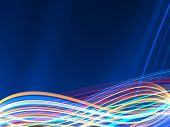 Colorful Lightwaves On Dark Blue Background