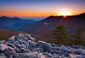 stock photo of appalachian  - Sunset over the Appalachian Mountains and Shenandoah Valley from Blackrock Summit - JPG