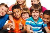 picture of 11 year old  - Large group of diversity happy kids boys and girls of age 8 - JPG