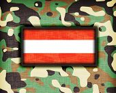 stock photo of ami  - Amy camouflage uniform with flag on it Austria - JPG