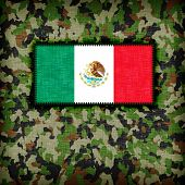 stock photo of ami  - Amy camouflage uniform with flag on it Mexico - JPG