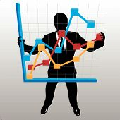 Business Man Holds Up Financial Profit Growth Chart