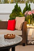 Outdoor Patio Seating Are With Nice Rattan Sofa