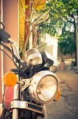 Classic Vintage Motorcycle In Athens, Greece