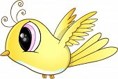 Cute Little Yellow Bird Vector Art