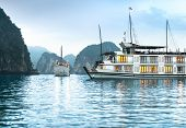 image of houseboats  - Beautiful nature in Halong bay - JPG