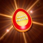Happy Easter Over Shining Golden Egg