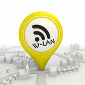 Symbolic w-lan icon inside a yellow map pointer