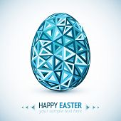 Abstract geometry triangles vector blue easter egg