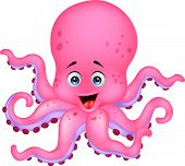 image of octopus  - Vector illustration of funny octopus cartoon isolated on white - JPG