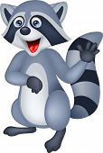 Raccoon cartoon waving