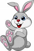 picture of waving hands  - Vector illustration of cute rabbit bunny sitting - JPG