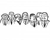 Gruppe von Geschäftsleuten - Retro ClipArt Illustration