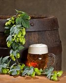 stock photo of bine  - still life with glass of beer and hop cones - JPG