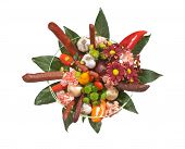 Bouquet With Flowers And Sausages