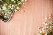 Background With White Flowers, Antique Tray