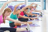 stock photo of slender  - Portrait of fitness class and instructor doing stretching exercise on yoga mats - JPG