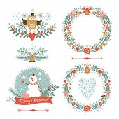 stock photo of christmas flower  - Set of Christmas and New Year graphic elements - JPG