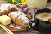 stock photo of croissant  - Breakfast with croissants and coffee - JPG
