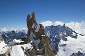 Peak and observation point Rebuffat at the mountain top station of the Aiguille du Midi