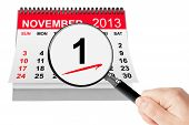 All Saints Day Concept. 1 November 2013 Calendar With Magnifier