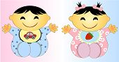 stock photo of underage  - Happy Twin Asian Baby Boy And Girl Vector art and illustration - JPG