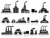pic of pollution  - vector illustration of black factory symbols  - JPG