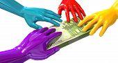 Hands Colorful Grabbing At Euro Notes