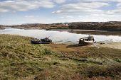 Old Fishing Boats Beached On Irish Beach