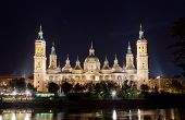 Basilica Del Pilar in Zaragoza in night illumination Spain