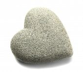 Grey stone in shape of heart, isolated on white