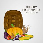 Happy Thanksgiving Day celebration concept with fruits, vegetables and empty wooden basket on grey background.