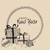 Vintage Happy New Year 2014 celebration background with decorated Xmas balls and gift boxes, greetin