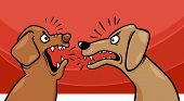 foto of growl  - Cartoon Illustration of Two Angry Barking and Growling Dogs - JPG