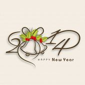 Happy New Year 2014 celebration background with stylish text and jingle bells, can be use as flyer, banner or poster.