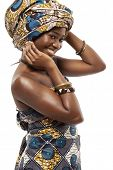 Young beautiful African fashion model in traditional dress.