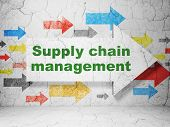 Advertising concept: arrow Supply Chain Management on wall