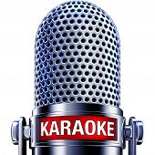 image of karaoke  - high resolution rendering of a microphone with a karaoke icon - JPG